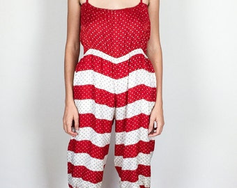 Red and White Silk Jumpsuit