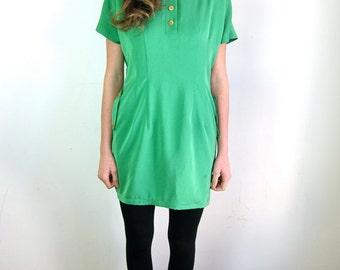 Beautiful Bright Green Silk 80's Dress