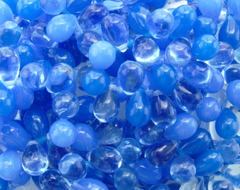 9x6mm Transparent Blue Lagoon Mix Czech Glass Teardrop Beads - Qty 25 (BS345)