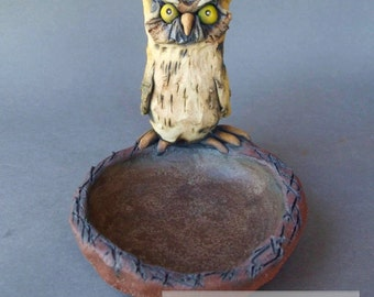 Owl Animal Sculpture Ceramic Dish