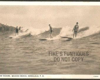Honolulu, Territory of Hawaii Vintage Postcard - Surf Riders at Waikiki Beach (Unused)