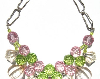 Fun Pink green clear acrylic handmade statement necklace