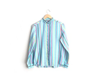 Size L // SKY BLUE STRIPED Button-Up Shirt // Long Sleeve - Vintage '80s.