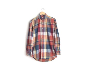 Size S/M // PLAID OXFORD // Long Sleeve Button-Up Shirt - Earth Tones - Vintage '90s.