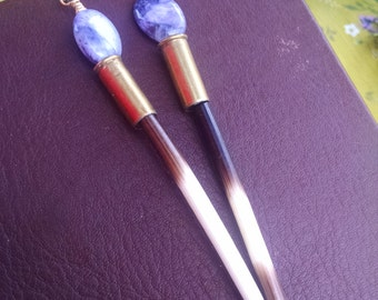 Porcupine Quill Earrings with Charoite