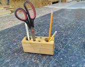 Wood Caddy Pencil Holder - Pencil Holder - Organizer Wood Block - Desk Organizer - Reclaimed Wood