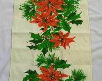 Vintage Tea Towel, Christmas Tea Towel, Red Poinsettia, Vintage Christmas, Vintage Kitchen, Linen Towels, Christmas Towel, Kitchen Towel