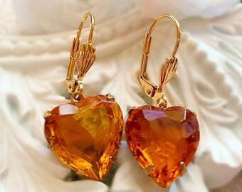 Best Valentines Gift for Mother - November Birthday Gift - Heart Earrings - Topaz Earrings - Victorian Earrings - HEARTSONG Topaz