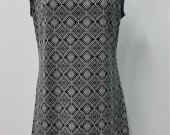 Casual dress, A line cut, women fashion, black and white print, woman apparel, comfortable wear, Christine Mercier designer