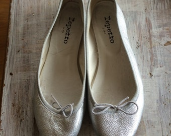 Silver Leather Repetto Ballet Flats Shoes 37 Women 6 7