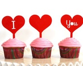 I love you heart cupcake toppers Set of 3, Valentine's Day cupcake topper, acrylic laser cut, Food picks
