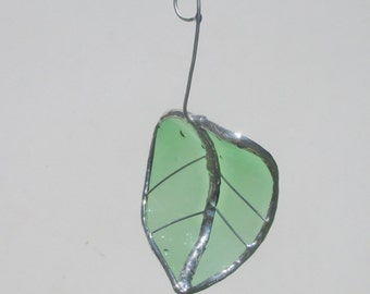 Green Spotted Birch Leaf with curve- Upcycled Stained Glass Suncatcher