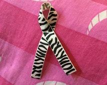 Ehlers-Danlos Awareness zebra print ribbon