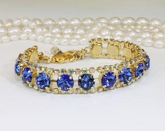Sapphire Blue Gold Bracelet Swarovski Crystal Electric Blue Ab Royal Blue Bridal Bracelet Wedding Jewelry Sapphire Bridesmaid Gift,Gold,GB52