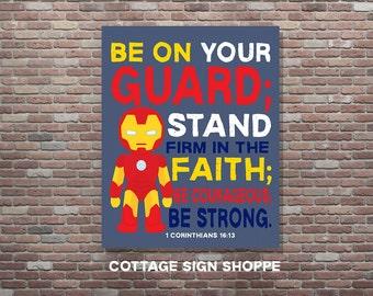 1 Corinthians 16:13, Stand Firm in the Faith, Christian Superhero Art, INSTANT DOWNLOAD, Superhero Scripture Art, Superhero Bible Verse Art