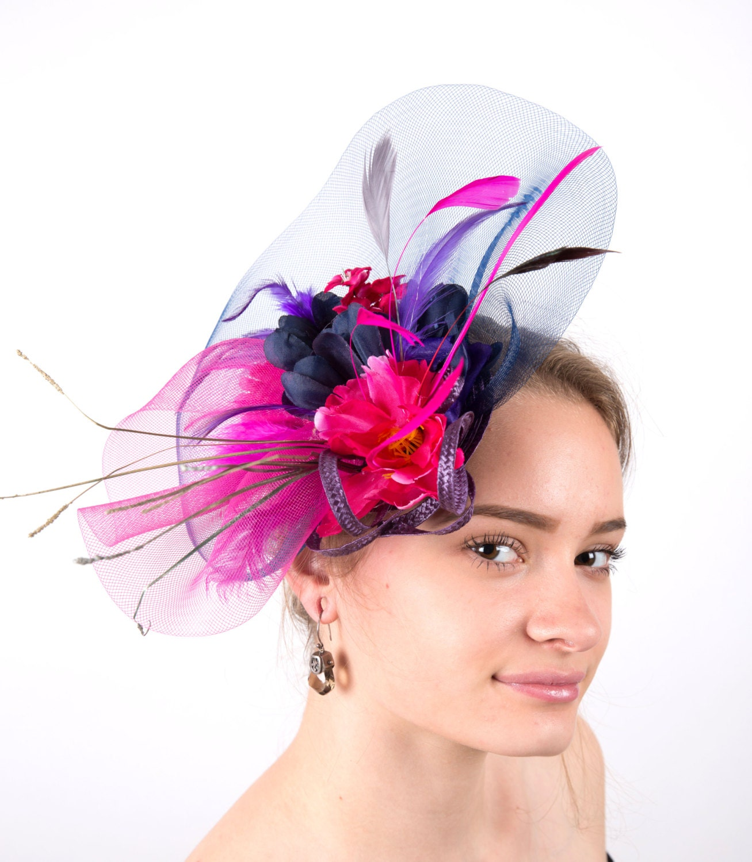77cc5bf789305 Ladies Black ivory purple Satin Flower Fascinator Hat Purple Wedding Hats   Pink Fascinator Hat Purple Derby Fascinator Hot Pink Wedding