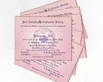 Vintage Australian HALLOWEEN Ball  / Dance Tickets 1958  | 8 Pink Tickets  with Gold Gilt | Vintage Halloween Ephemera