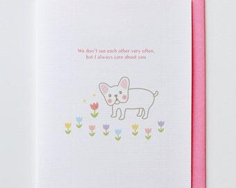 French Bulldog with Tulip Friendship Card - Cute, Kawaii, Dog, Animal Card, I Love You Card, Anniversary Card, Flower