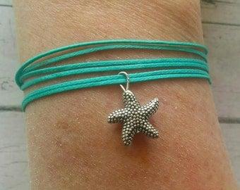 Wrap Bracelet for Women - Antique Silver Starfish Charm Bracelet - Aqua String Bracelet - Beach Jewelry - Choose Cord Color - Best Selling