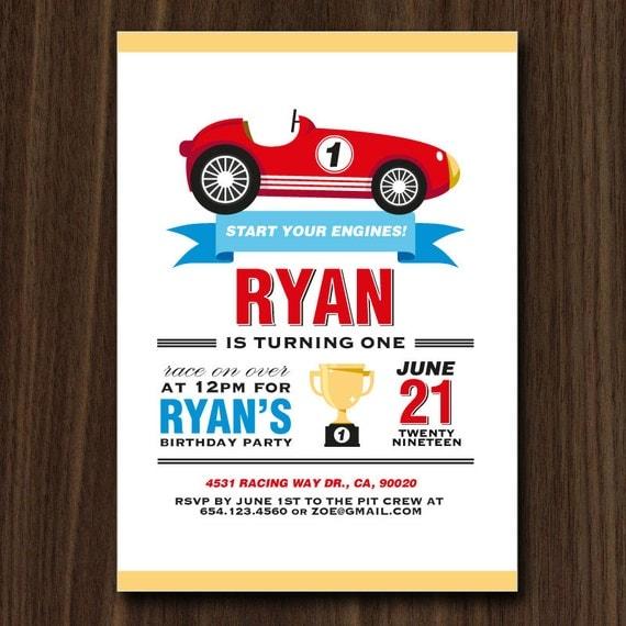 DIGITAL FILE Race Car Invite Race Car Invitation Cars Invitation