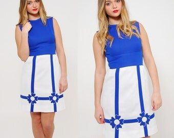 Vintage 60s MOD Nautical Dress Sleeveless Dress Blue & White Color Block Scooter Dress NOVELTY Dress