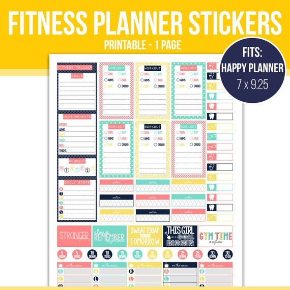 Exercise stickers printable planner stickers by for Happy planner accessories