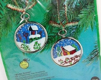 1976 Vintage Christmas Ornament Stitchery Kit   2 Christmas Tree Ornaments   Winter Scene   Paragon Needle Craft   Wool Yarn Sequins Frames