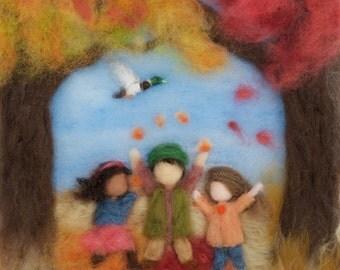 Waldorf Seasons Autumn Needlefelt Wool Painting, Custom