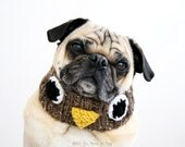 Owl Knit Dog Collar - Dog Neck Warmer - Dog Scarf - Pug Neck Warmer - Pug Scarf - Dog Clothing - Dog Gift - Puppy Clothing