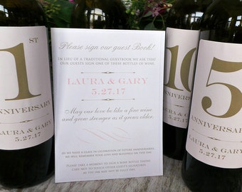 Guest Book Anniversary Wine Labels 4-6 labels, 1 instructional sign..choose your colors and numbers