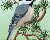 Painting ACEO Chickadee in Pine Tree, Original Graphic Design Art Card