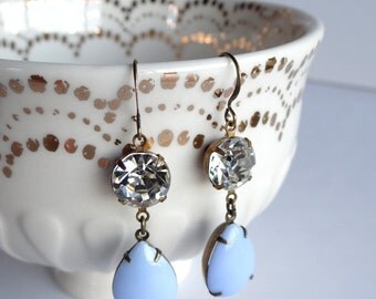 Vintage Blue Milk Glass and Crystal Earrings Old Hollywood Retro Glam