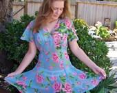Betsey Johnson, Party Dress, Designer dress, Floral dress, Blue floral dress, Sheer dress, size S / M