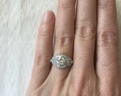 Reduced! Vintage Engagement Ring 1.75 Carats in 14k White Gold Ring