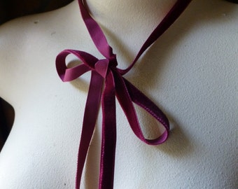 "3 yds. Burgundy Velvet Ribbon 3/8"" wide for Bridal, Costumes, Everything VL"