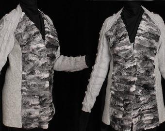 Winter fur jacket, boiled wool, astrakhan fur, size large, unique jacket, silver gray