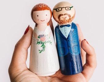 Cake Topper. Custom Wedding Cake Topper. Wooden Cake Toppers. Custom Cake Toppers. Peg Dolls. Wedding Wooden Dolls large size