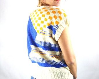 80s capsleeve print sweater / blue / yellow / s / m