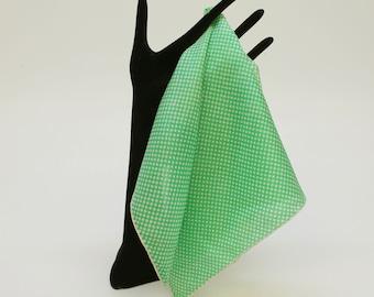 "Vintage Silk Pocket Square / Bright Green Mini Dots / 17"" Square"