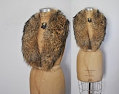 LARGE Raccoon Fur Collar / genuine feathered fur
