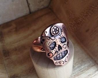 Sugar Skull Ring in Sterling Silver or Copper or Bronze Dia De Los Muertos Ring
