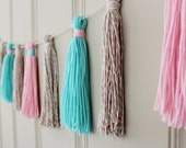 CLEARANCE - Yarn Tassel Garland No. 3 in Cotton Candy Pastels - Tassel Decor - Wall Hanging - Photo Prop - Nursery Decor - Ready to Ship