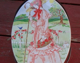 Vintage Oval  Cookie Tin With Handles Bo Peep Pink Lady 1960s Valleybrook Farms 9.5 X 6 And 3/4 Inches