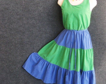 70's Vintage Cotton Dress Summer Disco, Green & Blue Polka Dot, Tiered Full Skirt, Scoop Neck, Sleeveless, E.V. Fashions, XS Bust 32 33