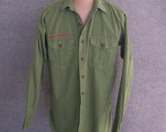 Vintage 40s 50s Adult Cub Boy Scout Shirt, Blue Gold Community Strip, Felt Patches, Olive Green Poplin Cotton Long Sleeve, Salina Ks,