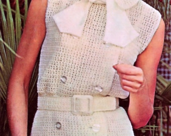 Vintage Crochet Pattern One Piece Sleeveless Double Breasted Dress Bust Size 32 to 38 Inches Instant PDF Instant Download