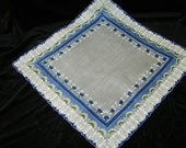 "Vintage 1950's 14 1/2"" Blue Roses Floral Wedding Handkerchief or Doily, 9758"