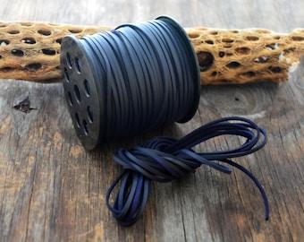 Indigo Blue Textured Faux Suede Leather Cord, 15 feet bundle (5 yards) / Microfiber, Vegan Suede, DIY Cord Supplies, Faux Suede Cord, Supply
