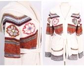 vintage cream knit sweater wrap jacket + large hood size small medium acrylic 1970s space dye hippie boho cardigan