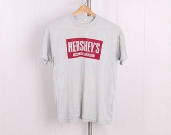 vintage 1980s Hersheys Milk Chocolate t shirt deadstock unworn gray cotton Tshirt mens large vtg 80s